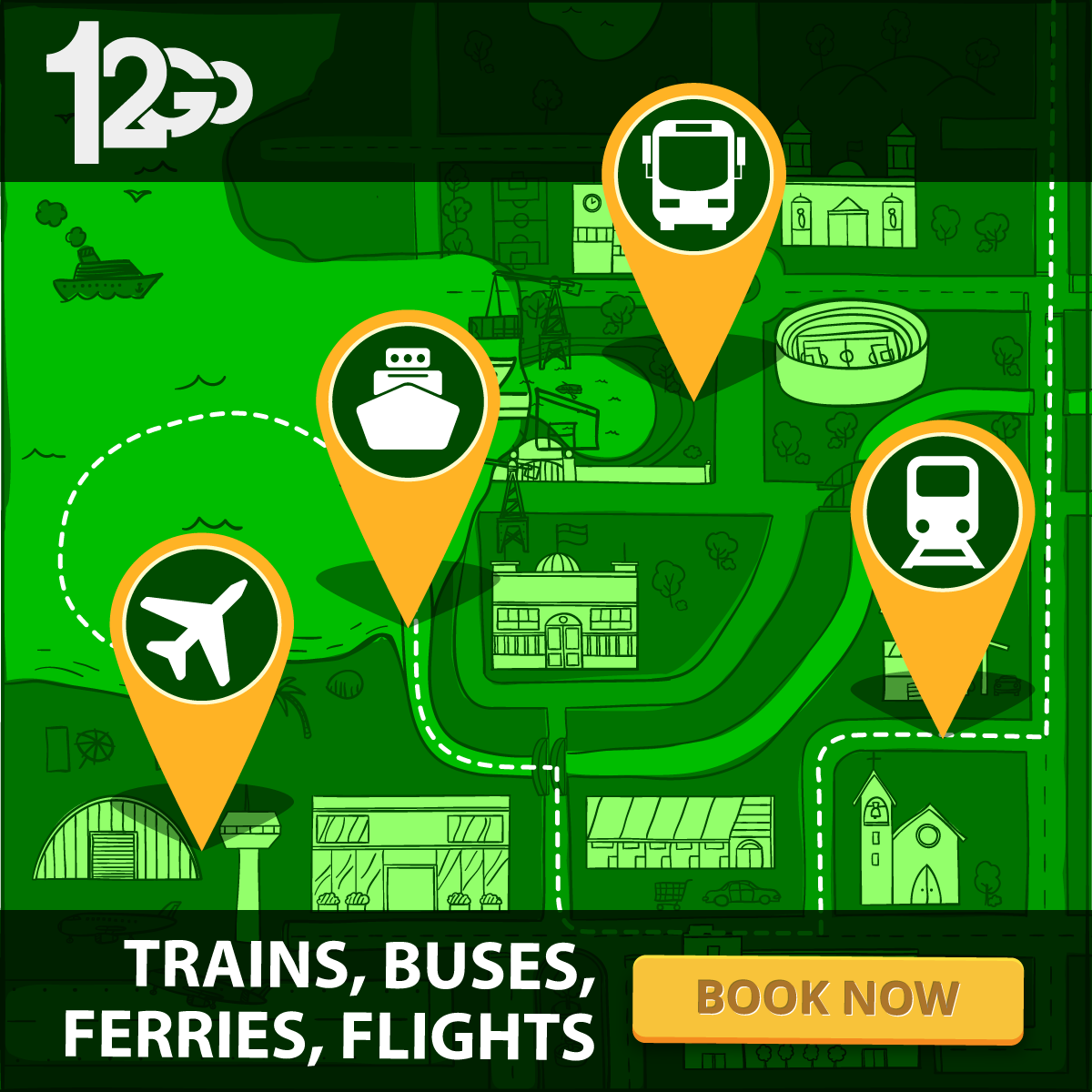 Book Tickets for trains, buses, ferries, charters in Southeast Asia with 12GO 1